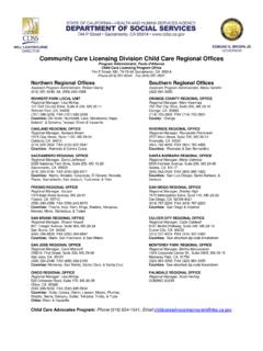 Community Care Licensing Division Child Care Regional Offices