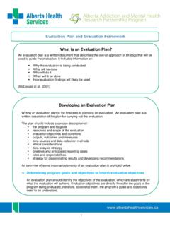 Evaluation Plan and Evaluation Framework