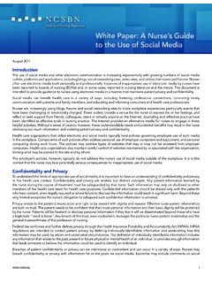 White Paper: A Nurse's Guide to the Use of Social Media