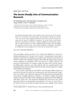 The Seven Deadly Sins of Communication Research