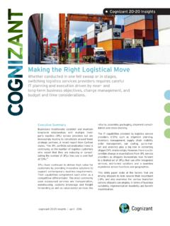 Making the Right Logistical Move - Cognizant