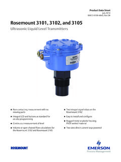 Product Data Sheet: Rosemount 3101, 3102, and …