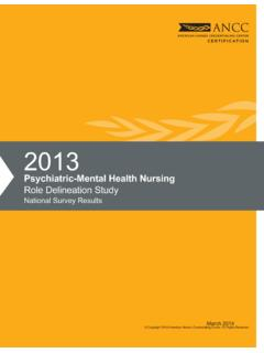 Psychiatric-Mental Health Nursing Role Delineation Study