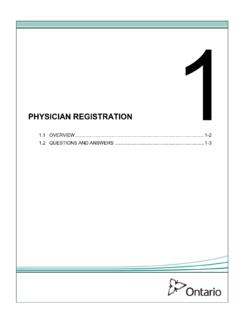 1 PHYSICIAN REGISTRATION - Ministry of Health and Long ...