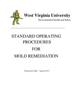 STANDARD OPERATING PROCEDURES FOR MOLD …