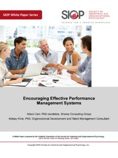 Encouraging Effective Performance Management …