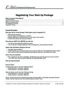 Negotiating Your Start Up Package - UCSF Career
