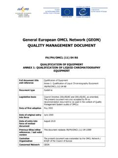 General European OMCL Network (GEON) QUALITY …