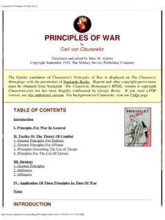 Clausewitz: Principles of War (1812)