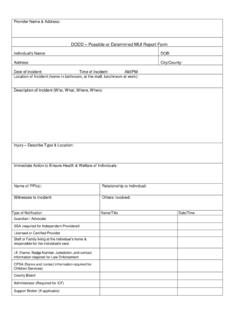 Incident Report Form - Home DODD