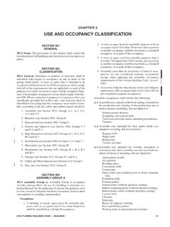 CHAPTER 3 USE AND OCCUPANCY CLASSIFICATION