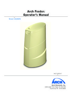 Arch Feeder: Operator's Manual - poolweb.net