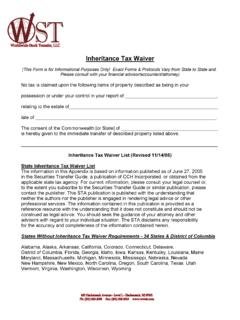 Inheritance Tax Waiver Form