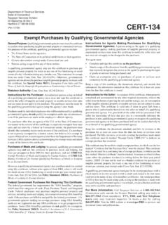 CERT-134, Exempt Purchases by Qualifying Governmental …