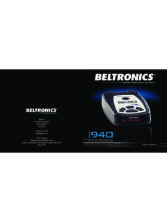 USA 800-341-2288 ©2011 Beltronics Owner's Manual