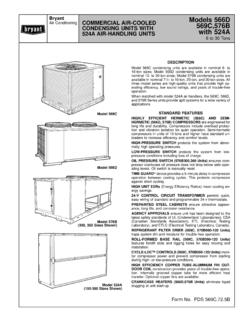 COMMERCIAL AIR-COOLED Models 566D Air Conditioning …