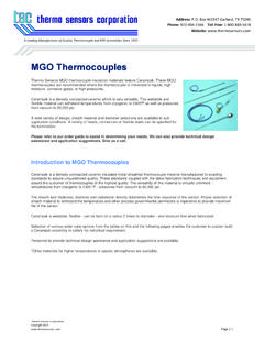 MGO Thermocouples - Thermo Sensors
