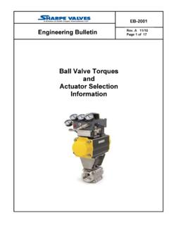 Ball Valve Torques and Actuator Selection …