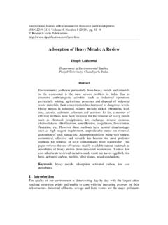 Adsorption of Heavy Metals: A Review