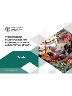 Strengthening sector policies for better food security and ...
