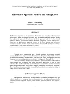 Performance Appraisal: Methods and Rating Errors