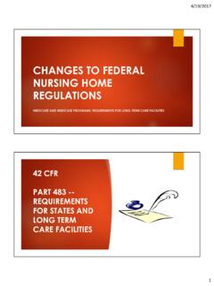 CHANGES TO FEDERAL NURSING HOME REGULATIONS