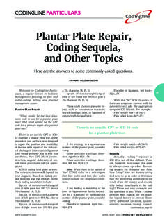 Plantar Plate Repair, Coding Sequela, and Other Topics