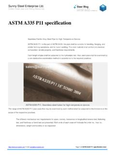 ASTM A335 P11 specification - Sunny Steel