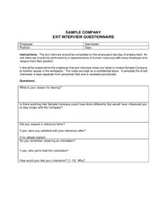 Sample Exit Interview Form - The Employers' Choice
