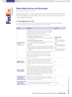 Value Added Services and Surcharges - FedEx