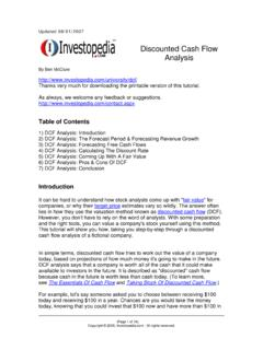 Discounted Cash Flow Analysis - Graham And …