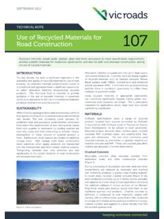 SEPTEMBER 2011 TECHNICAL NOTE Use of Recycled …