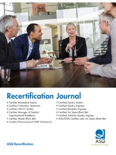 Recertification Journal - ASQ
