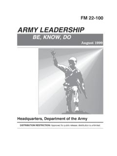 Army Leadership - Be, Know, Do