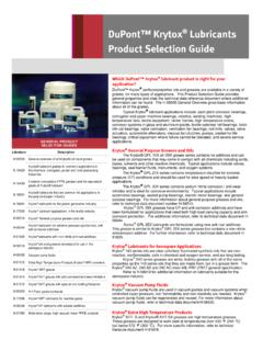 DuPont™ Krytox Lubricants Product Selection Guide