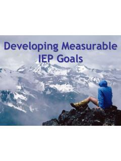 Developing Measurable IEP Goals - esboces.org