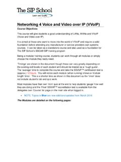 Networking 4 Voice and Video over IP (VVoIP)