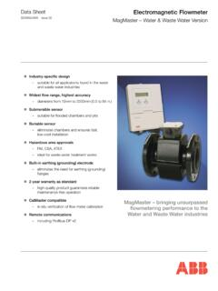 Data Sheet Electromagnetic Flowmeter MagMaster – Water ...