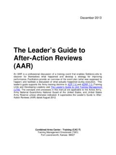 The Leader's Guide to After-Action Reviews (AAR)