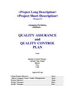 QUALITY ASSURANCE and QUALITY CONTROL PLAN