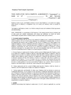 Employee Non-compete Agreement blank form - …
