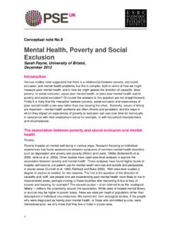 Mental Health, Poverty and Social Exclusion