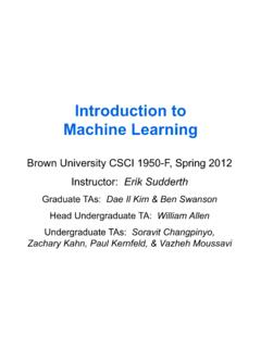 Introduction to Machine Learning - Brown University