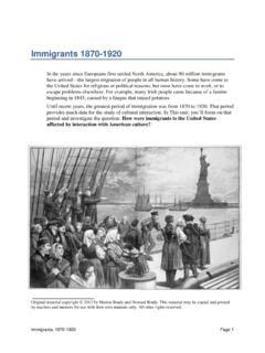 Immigrants 1870-1920