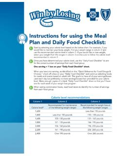 Instructions for using the Meal Plan and Daily Food …