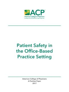 Patient Safety in the Office-Based Practice Setting