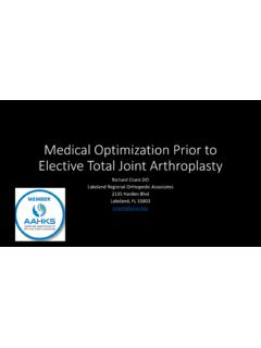 Medical Optimization Prior to Elective Total Joint ...