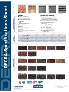 Product Profiles DECRA Specifications Sheet