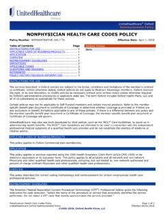 Nonphysician Health Care Codes - OXHP