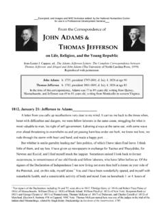 From the Correspondence of JOHN ADAMS & …
